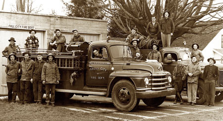 Fall City Volunteer Firefighters at first Fire Hall  (photo 1952)